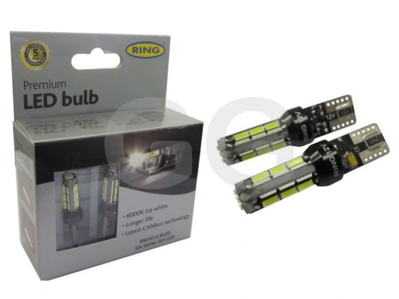 Front Side Light Bulbs Fiesta ST180 Ring LED Capless T10 CANbus 6000K RW501CBLED